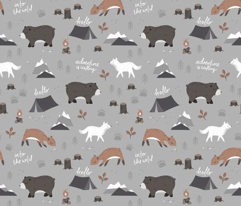 Into the wild - grey and brown fabric by ewa_brzozowska on Spoonflower - custom fabric