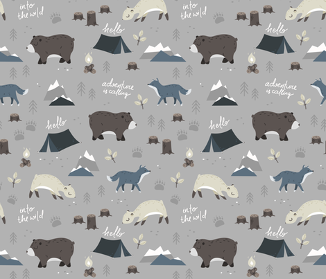 Into the wild - grey and blue fabric by ewa_brzozowska on Spoonflower - custom fabric