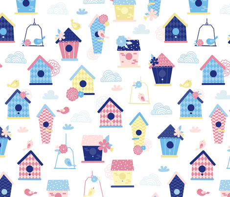 Birdhouses fabric by ewa_brzozowska on Spoonflower - custom fabric