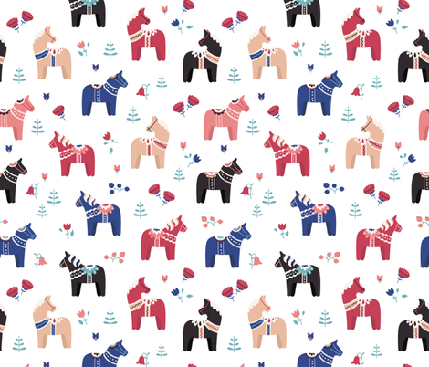 Dala horse - red and blue fabric by ewa_brzozowska on Spoonflower - custom fabric