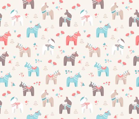 Dala horse - beige fabric by ewa_brzozowska on Spoonflower - custom fabric