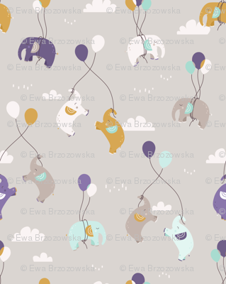 Fly fly elephants - grey and violet