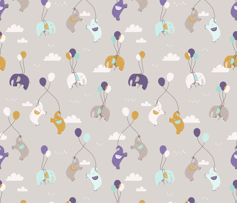Fly fly elephants - grey and violet fabric by ewa_brzozowska on Spoonflower - custom fabric
