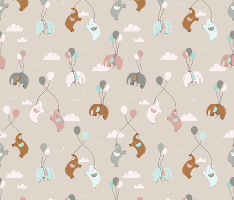 Fly fly elephants - beige fabric by ewa_brzozowska on Spoonflower - custom fabric