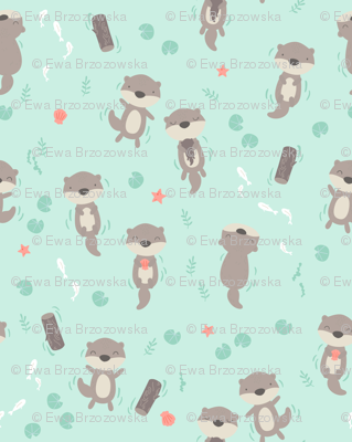 Cute otters in the water - mint