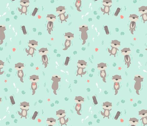 Cute otters in the water - mint fabric by ewa_brzozowska on Spoonflower - custom fabric