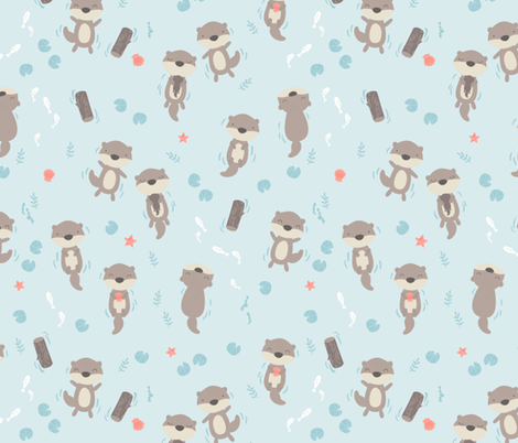 Cute otters in the water - blue fabric by ewa_brzozowska on Spoonflower - custom fabric