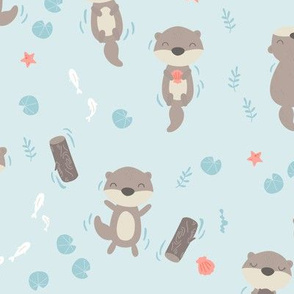 Cute otters in the water - blue