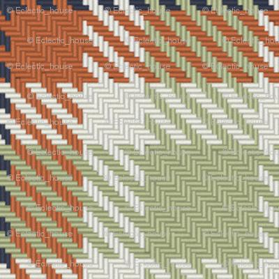 Terra Cotta Light Green Linen and Navy Bayeux Palette Plaid