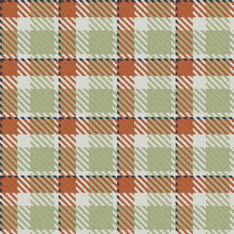 Terra Cotta Light Green Linen and Navy Bayeux Palette Plaid fabric by eclectic_house on Spoonflower - custom fabric