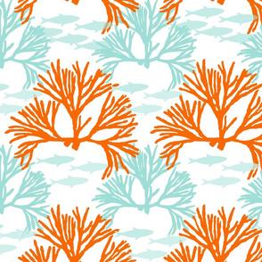 orange coral with fish