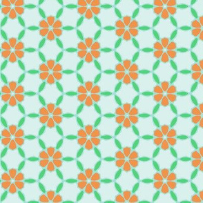 Orange Floral Gemetric Pattern