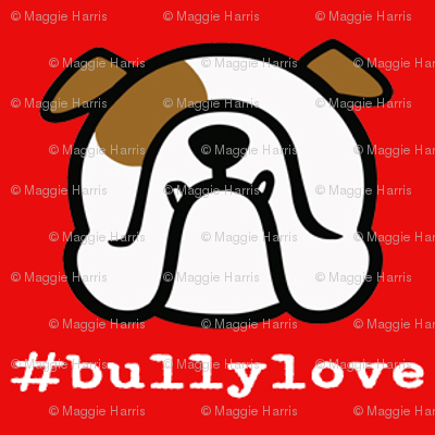 Bulldog love - #bullylove in red -English Bulldog fabric