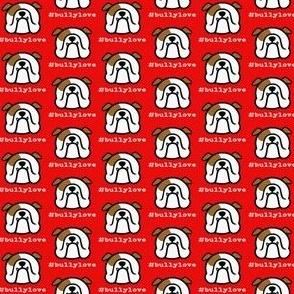 Bulldog love - #bullylove in red - English Bulldog fabric