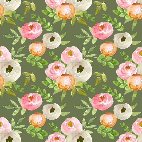 soft autumn watercolor floral on olive  fabric by smallhoursshop on Spoonflower - custom fabric