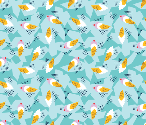 Memphis style ice cream cones fabric by lburleighdesigns on Spoonflower - custom fabric