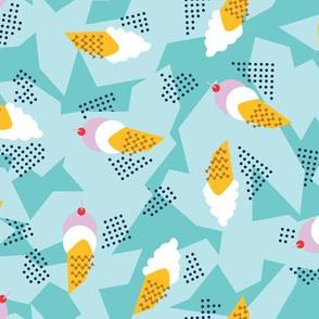 Memphis style ice cream cones
