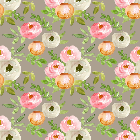soft fall floral watercolor bouquet on gray  fabric by smallhoursshop on Spoonflower - custom fabric