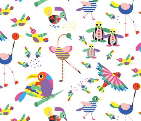 Memphis Birdies fabric by colour_angel_by_kv on Spoonflower - custom fabric