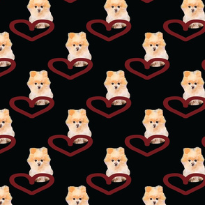 Heart Pomeranian Black Upholstery Fabric