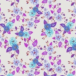 Orient Roses Chinoserie Blue Magenta Cream