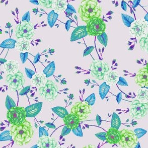 Orient Roses Chinoserie Blue Green Cream