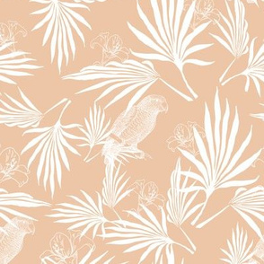 parrot and palms - creme/pale orange