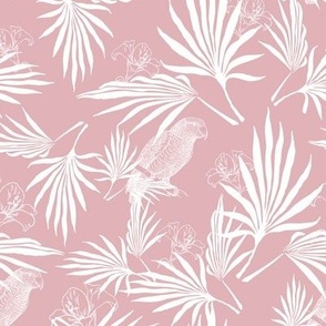parrot and palms - light grayish pink
