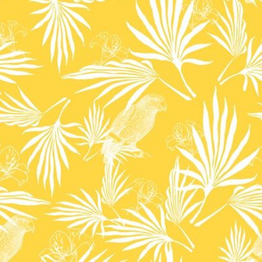 parrot and palms - yellow