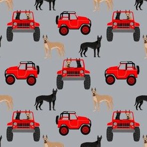 Great Dane in jeeps fabric - cute dogs fabric - grey
