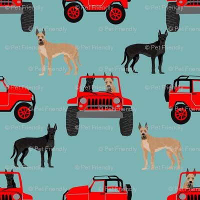 Great Dane fabric - cute dogs fabric - gulf blue