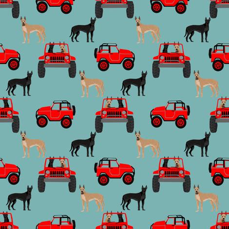 Great Dane fabric - cute dogs fabric - gulf blue fabric by petfriendly on Spoonflower - custom fabric