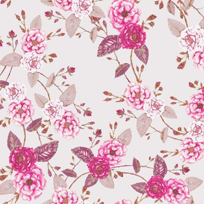 Vintage Roses Chinoserie Pink Grey