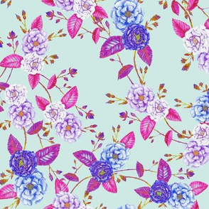 Orient Roses Chinoserie Blue Magenta Chalky Green