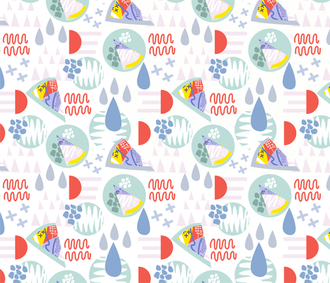 Memphis green pattern fabric by marushabelle on Spoonflower - custom fabric