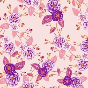 Chinoserie Rose Orange Purple Pink