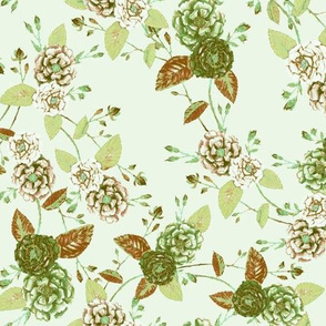 Chinoserie Rose Woodland Green