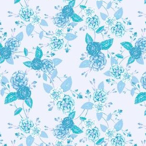Orient Roses Chinoserie Washed Cyan