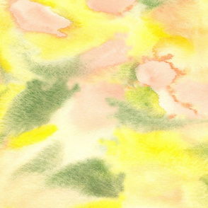 Peach Coral Yellow Green Watercolor Abstract Modern _ Miss Chiff Designs