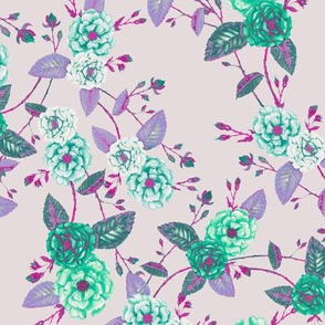 Orient Roses Chinoserie Mint & MagentaDustyRose