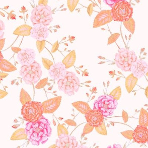 Orient Roses Chinoserie Vintage Peachy Pink