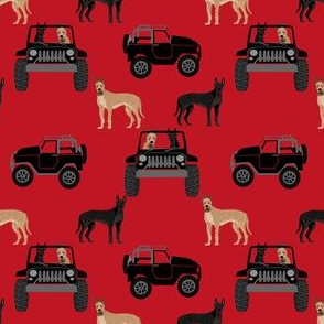 Great Dane in jeeps fabric - cute dogs fabric - black and red
