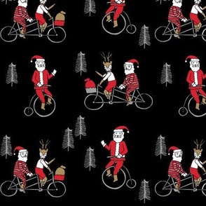 Santa Claus bicycle with reindeer christmas fabric black