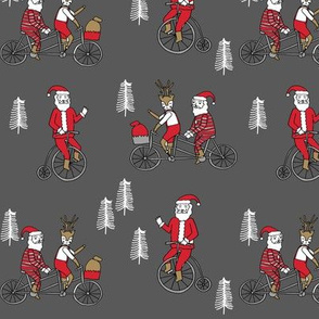 Santa Claus bicycle with reindeer christmas fabric charcoal