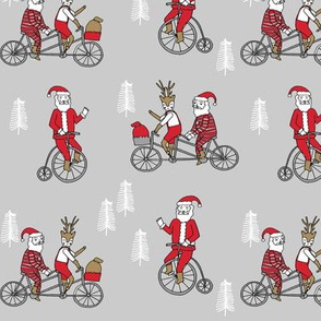 Santa Claus bicycle with reindeer christmas fabric light grey