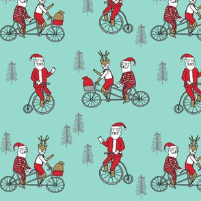 Santa Claus bicycle with reindeer christmas fabric light mint