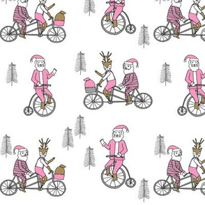 Santa Claus bicycle with reindeer christmas fabric light pink