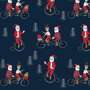 Santa Claus bicycle with reindeer christmas fabric navy