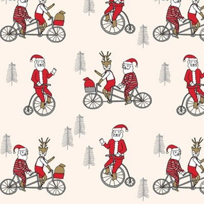 Santa Claus bicycle with reindeer christmas fabric off-white
