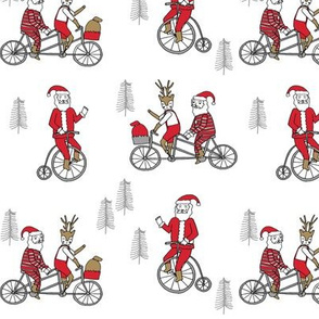 Santa Claus bicycle with reindeer christmas fabric white